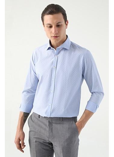 TWN Slim Fit Armürlü Gömlek Mavi